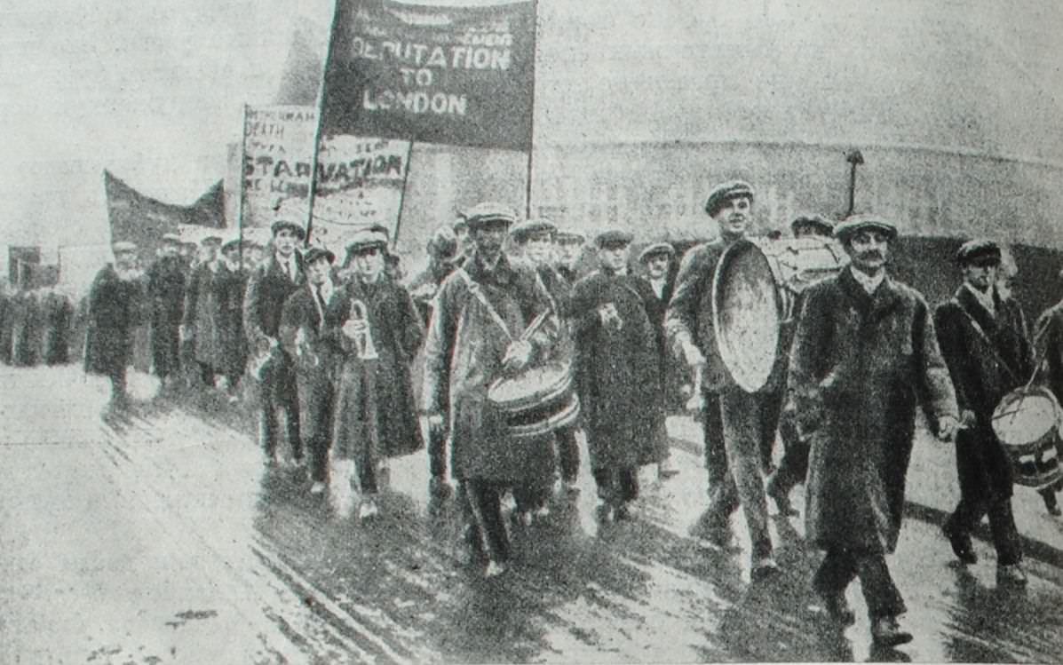 Поход английских безработных в Лондон. Фотография. 1923 год.