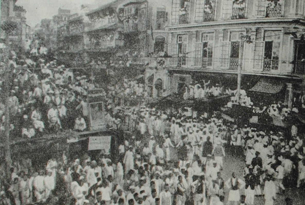 Антианглийская демонстрация в Бомбее. Фотография. 1932 год.